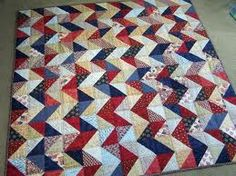 A zig zag quilt to use leftovers HST's