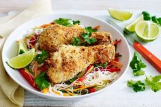 Add some Asian style to your week with this tasty rice noodle salad topped withsalt and pepper chicken.