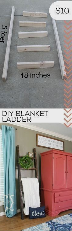 DIY Home Decor Turn scrape wood into a DIY blanket ladder. Diy Wood Projects, Furniture Projects, Home Projects, Home Crafts, Diy Furniture, Furniture Storage, Bedroom Storage, Diy Crafts, Bathroom Furniture