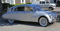 1941 Tatra 87. The 77 model had 75 horsepower and a 3.4 ltr V8 engine located in the rear of the vehicle.