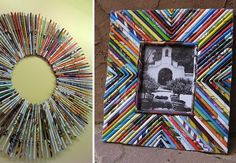 Transform a stack of old magazines into a colorful DIY picture frame. How creative is that? Weekend Projects, Diy Projects To Try, Art Projects, Cadre Photo Diy, Diy Photo, Diy Arts And Crafts, Fun Crafts, Diy Wanddekorationen, Art Quilling
