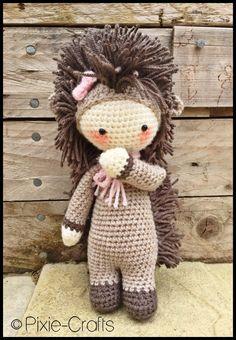 Handmade Crochet Amigurumi Polly Prickles Hedgehog Doll - Lalylala- cute Gift idea - 11 inches tall by PixieCraftDolls on Etsy https://www.etsy.com/listing/236906441/handmade-crochet-amigurumi-polly