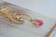 Minimalist Smooth Pink Tourmaline Teardrop Gold by JooniJewelry, $45.00
