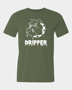 Mens funny dripper t-shirt with dripping bulldog for vaping fans.    Short sleeve crew neck T-Shirt  Ultra tight knit surface  Taped neck and shoulders  Seamless double-needle collar  Quarter turned to eliminate centre crease  Double-needle sleeve and bottom hems  Tubular construction    Sizes                                 S 	           M 	         L      XL 	   XXL 	 3XL  Chest To Fit (Inches) 	34-36 	38-40 	42 	 44 	  46-48 	50-52  Actual Chest (cm) 	          92 	         102        112…