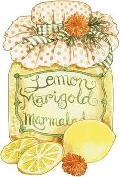 Lemon marigold marmalade by Diane Knott Decoupage Vintage, Vintage Diy, Arts And Crafts, Paper Crafts, Pintura Country, Country Art, Tole Painting, Kitchen Art, Recipe Cards