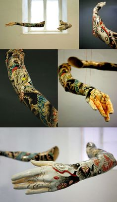 Min Jeong Seo - Tattoo (2006) Porcelain molded from the arms of professional ballet dancers and painted with Japanese Yakuza-style tattoo patterns.