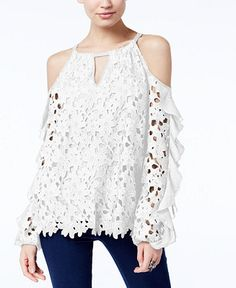 INC International Concepts Petite Lace Ruffled Cold-Shoulder Top, Created for Macy's - Tops - Petites - Macy's