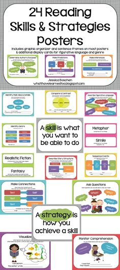Included are 24 reading comprehension skills and strategies posters. Each poster has the name of the strategy, prompts that you might ask students, a sample graphic organizer, and sample student responses with sentence frames (when applicable). Also available with black and white polka-dot background.