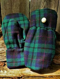 These are one of a kind, handmade mittens that are constructed from a upcycled dark blue and green plaid wool coat, lined with black fleece, complete with attached repurposed white button bling. Sweater Mittens, School Sets, Teaching Art, Blue Plaid, Upcycle, Wool, Trending Outfits, Unique Jewelry, Creative