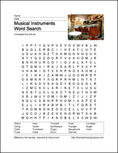 Musical Instruments Wordsearch - Beverly Hernandez
