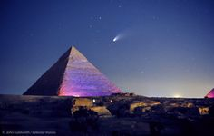 Comet Hale-Bopp appears above the Pyramid of Khafre, one of the three Great Pyramids of Giza.