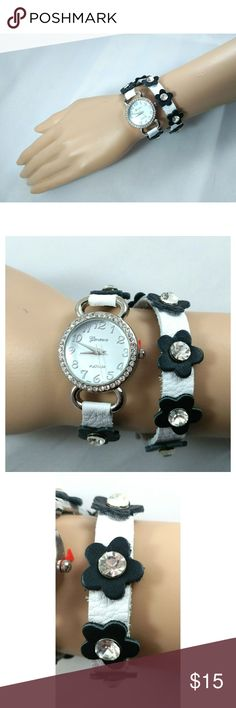 """New Geneva Platinum Wrap Around Watch Rhinestones center leather flowers adorn this white soft leather strap.  16"""" long from end to end. Double wrap watch. 1"""" circle watch piece. Adjustable snap closure. Jewelry"""