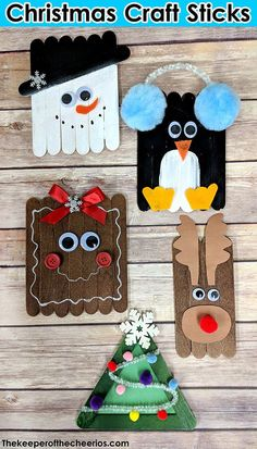 Christmas Craft Sticks The Keeper of the Cheerios Christmas Craft Sticks popsicle stick Christmas crafts Easy kids Christmas crafts rudolph snowman penguin gingerbread christmas tree Popsicle Stick Christmas Crafts, Craft Stick Crafts, Fun Crafts, Craft Sticks, Craft Ideas, Craft Projects, Simple Christmas Crafts, Christmas Decorations With Kids, Christmas Crafts For Children