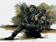 Vietnam - USMC Force Recon with con lanzagranadas de Max Crace Military Police, Military Art, Military History, Usmc, Marine Recon, Marine Corps, Soldier Drawing, Once A Marine, Military Drawings