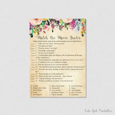 Floral Movie Love Quote Match Game - Printable Bridal Shower Movie Quote Game - DIY Bridal Shower - Cream Flower Matching 0001C