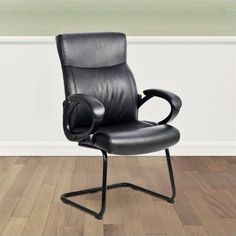 Sonax CorLiving 41' Office Guest Office Chair in Black Leatherette