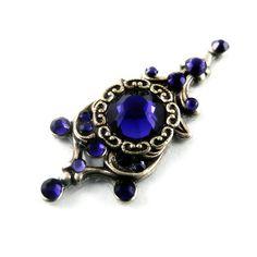 "Bellydance Bindi - Antique Silver and Purple Velvet Swarovski Crystals - ""Moonlight Pagoda Crystal"""