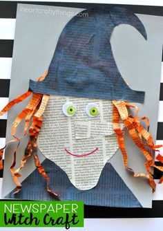 Get crafty this Halloween with this cute newspaper witch craft. Fun Halloween craft, newspaper craft and Halloween kids craft. Get crafty this Halloween with this cute newspaper witch craft. Fun Halloween craft, newspaper craft and Halloween kids craft. Halloween Art Projects, Theme Halloween, Fairy Halloween Costumes, Halloween Party Supplies, Halloween Tags, Halloween Crafts For Kids, Halloween Activities, Fall Halloween, Halloween Worksheets