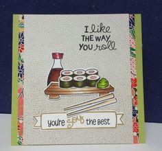 lawn fawn, sushi birthday card