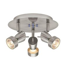 Hampton Bay, 3-Light Brushed Nickel Ceiling Wall Round Fixture, EC554SBA at The Home Depot - Tablet