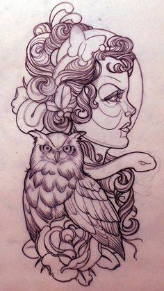 SugarSkull/Owl/TattooDesign