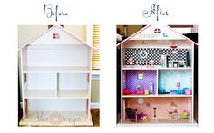 "Imagine my utter elation when I stumbled upon this inspiration for a homemade dollhouse on Pinterest from Honest to Nod.  I happened to have a bookshelf shaped like a dollhouse that my MIL bought my second born when she was a toddler.  As of late, it has just been a ""catch all"" for odds and ends, not really serving its intended purpose.  SO, Mommy got a decorating project...and boy, did she have fun!"