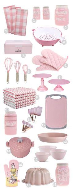 Pink Office Decor, Pink Kitchen Decor, Cute Kitchen, Retro Home Decor, Kitchen Items, Kitchen Colors, Kitchen Gadgets, Kitchen Organization Pantry, Kitchen Appliance Storage