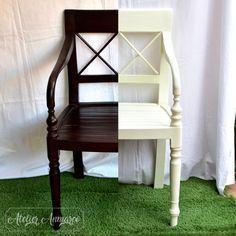 Antes y después de esta silla pintada en blanco. #restauraciondemuebles #antesydespues #beforeandafter #silla #chair #madera #wood #blanco #white #ChairMadera