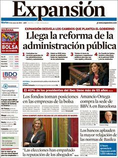 Titulares y Portada del 8 de Enero de 2013 del Periodico Expansión ¿Que te parecio este día?