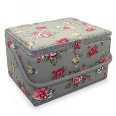 Sewing Box Grey Floral Large - Order online at Yarnplaza.com!