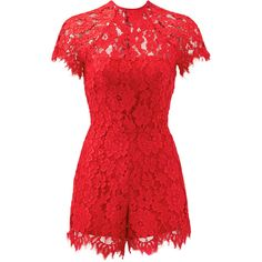 Rental Alexis Red Lindsey Romper ($75) ❤ liked on Polyvore featuring jumpsuits, rompers, dresses, red, lace rompers, playsuit romper, short sleeve romper, lace romper and red lace romper