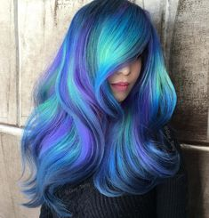 Try 18 Geode Hair Color Styles And New Trend in the World of Dyeing Se Blue Hair color dyeing Geode hair Styles Trend world Purple Hair, Ombre Hair, Blonde Hair, Blue Green Hair, Green Eyes, Pelo Multicolor, Coloured Hair, Dye My Hair, Mermaid Hair