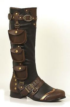 Mens STEAMPUNK Boots Black with Brown Pockets size 8 9 10 11 12 13 Buckles