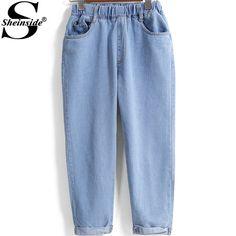 Купить товарSheinside синий эластичный пояс двойной карманы высокой талии новинка улица женщины 2015 весна последние джинсовые в категории Джинсына AliExpress.                                                Бедра     (См)    Бюст (см)  Ра