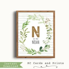 $7.50 Noah Name Art, Rustic Nursery, Nursery Forest Decor, Forest Art Nursery, Baby Boy Nursery, Printable, Digital Print, Instant Download by KCCardsandPrints on Etsy https://www.etsy.com/listing/514984473/noah-name-art-rustic-nursery-nursery