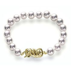 "8x8.5mm A+ Quality Silver Overtone Japanese Akoya saltwater cultured pearl bracelet 8"" with 18K Gold Clasp American Pearl. $989.00"