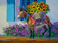 Baskets Of Sunshine - Mikki Senkarik Basket Of Sunshine, Mexican Pictures, Mexican Art, Equine Art, Horse Art, Summer Art, Pictures To Paint, Watercolor Paintings, Watercolors