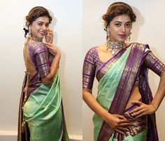 Want to check out the contrasting blouse colors to wear with green sarees? Here are 15 blouse colors that are trending this year. Indian Bridal Sarees, Bridal Silk Saree, Silk Sarees, Kanjivaram Sarees, Wedding Sarees, Brocade Blouse Designs, Pattu Saree Blouse Designs, Saree Blouse Patterns, Green Color Combination Dresses