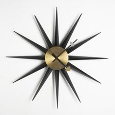 """Large Spike"" Wall Clock, Model 2230E, Howard Miller Clock Company, Designed by Irving Harper, 1955"
