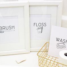 I have been wanting some simple modern bathroom art but couldn't find anything I liked. So I made my own! Obviously I had to share them as FREE printables on my blog!! I think these prints would be so cute in black or gold frames too!  And since we are in the bathroom I want to share how I whiten my teeth AT HOME! Its all in my latest post and you guys @smilebrilliant is the most genius product ever! You make your impressions and whiten all at home. I love not having to leave the house…