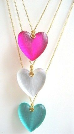 pink-white & teal hearts