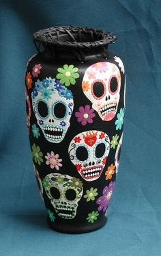 Day of the Dead Sugar Skulls and Flowers Vase by CREEPYSTUFF