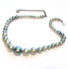 Vintage Bead Necklace, Green Faux Pearl