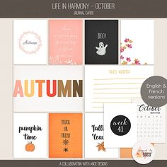 Life In Harmony - October {Journal Cards} Ange Designs and Designed by Soco | 09/10 - New Release :: Memory Scraps