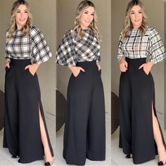 Loose palazzo high waist wide leg pant with pleated detail Modest Fashion, Hijab Fashion, Fashion Dresses, Classy Outfits, Chic Outfits, Hijab Stile, Elegant Outfit, Look Chic, I Dress