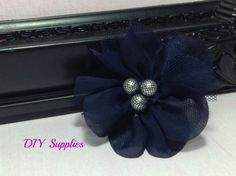 Navy chiffon and tulle petal flower with pearl center - fabric flowers - wholesale flowers - handmade flower - diy - hair clip flower