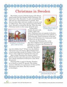 Worksheets: Christmas in Sweden