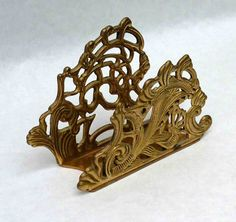 $20.00 Vintage Brass Napkin Holder Letter Holder Mid Century Scroll Butterfly Floral