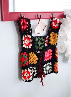 Vintage granny square vest