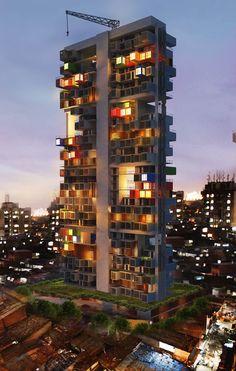 Escritório de arquitetura projeta arranha-céu de containers para favela em Mumbai stylo urbano-3